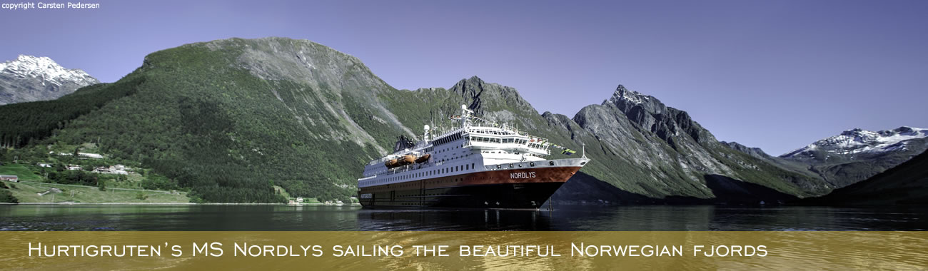 The MS Nordlys sailing the Norwegian fjords